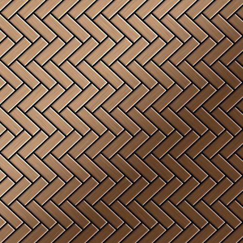 Mosaik Fliese massiv Metall Titan gebürstet in kupfer 1,6mm stark ALLOY Herringbone-Ti-AB 0,85 m2 – Bild 1