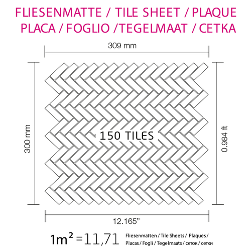 Mosaik Fliese massiv Metall Titan hochglänzend in kupfer 1,6mm stark ALLOY Herringbone-Ti-AM 0,85 m2 – Bild 5