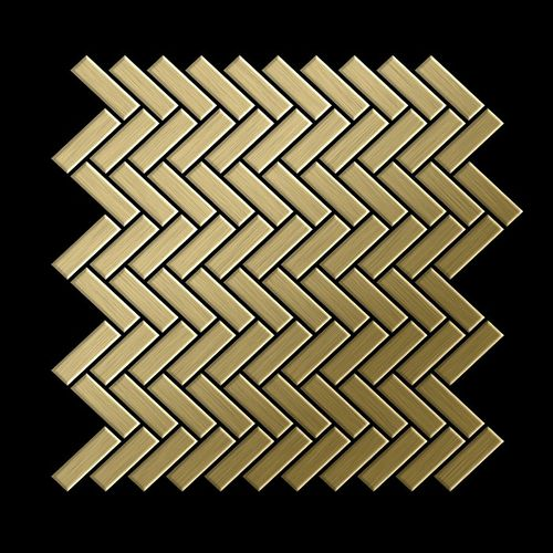Mosaik Fliese massiv Metall Titan gebürstet in gold 1,6mm stark ALLOY Herringbone-Ti-GB 0,94 m2 – Bild 3