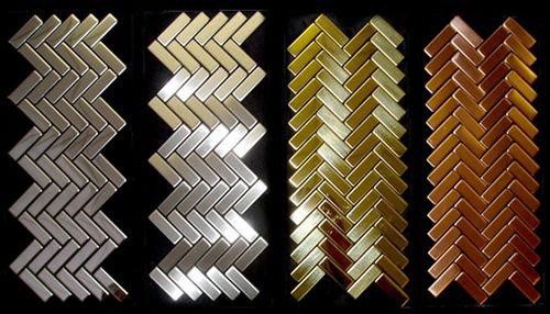 Mosaik Fliese massiv Metall Titan hochglänzend in gold 1,6mm stark ALLOY Herringbone-Ti-GM 0,85 m2 – Bild 4