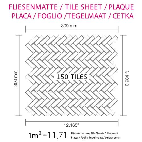 Mosaik Fliese massiv Metall Titan gebürstet in dunkelgrau 1,6mm stark ALLOY Herringbone-Ti-SB 0,85 m2 – Bild 5
