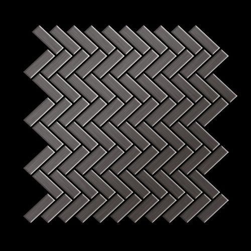Mosaik Fliese massiv Metall Titan gebürstet in dunkelgrau 1,6mm stark ALLOY Herringbone-Ti-SB 0,85 m2 – Bild 3