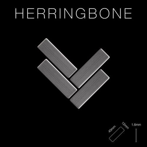 Mosaik Fliese massiv Metall Titan gebürstet in dunkelgrau 1,6mm stark ALLOY Herringbone-Ti-SB 0,85 m2 – Bild 2