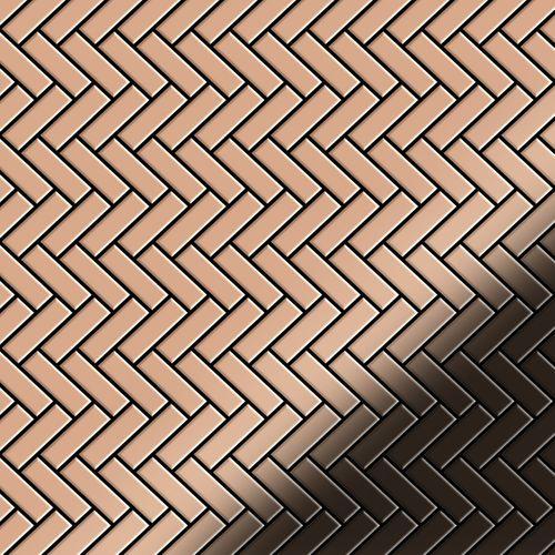 Mosaik Fliese massiv Metall Kupfer gewalzt in kupfer 1,6mm stark ALLOY Herringbone-CM 0,85 m2 – Bild 1