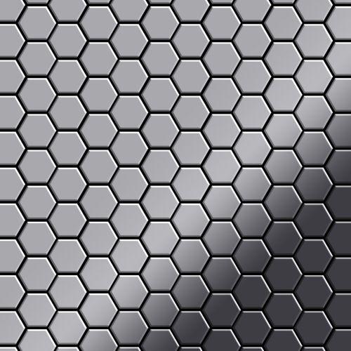 Mozaïektegels massief metaal roestvrij staal Marine hoogglanzend grijs 1,6 mm dik ALLOY Honey-S-S-MM – Bild 1