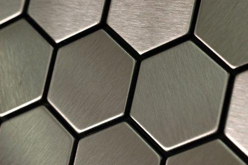 Mosaik Fliese massiv Metall Edelstahl marine gebürstet in grau 1,6mm stark ALLOY Honey-S-S-MB 0,92 m2 – Bild 5