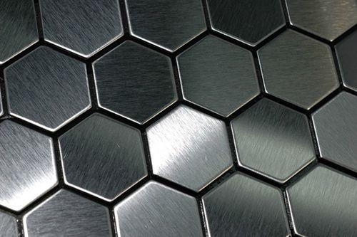 Mozaïektegels massief metaal roestvrij staal Marine geborsteld grijs 1,6 mm dik ALLOY Honey-S-S-MB – Bild 4