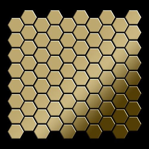 Mosaik Fliese massiv Metall Titan hochglänzend in gold 1,6mm stark ALLOY Honey-Ti-GM 0,92 m2 – Bild 3