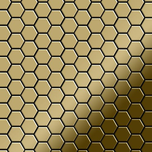 Mosaik Fliese massiv Metall Titan hochglänzend in gold 1,6mm stark ALLOY Honey-Ti-GM 0,92 m2 – Bild 1