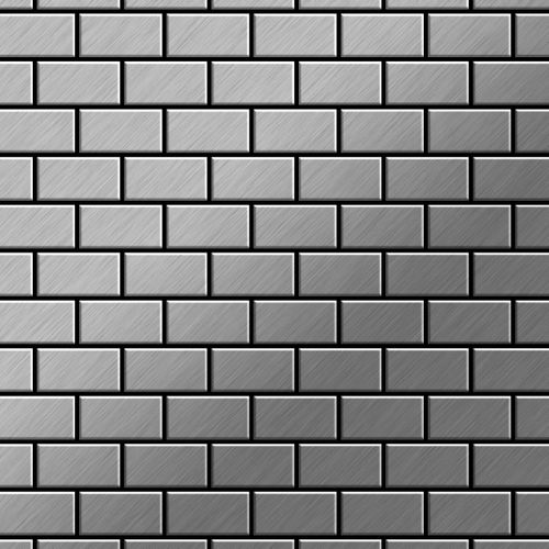 Mosaik Fliese massiv Metall Edelstahl gebürstet in grau 1,6mm stark ALLOY House-S-S-B 0,98 m2 – Bild 1