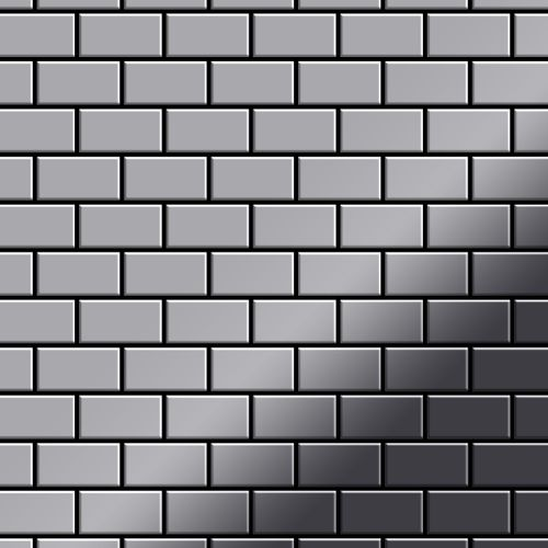 Mosaik Fliese massiv Metall Edelstahl hochglänzend in grau 1,6mm stark ALLOY House-S-S-M 0,98 m2 – Bild 1