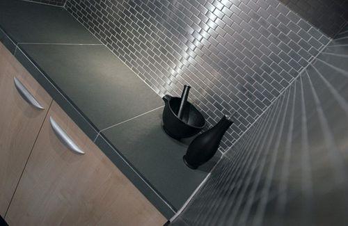 Mosaik Fliese massiv Metall Edelstahl marine gebürstet in grau 1,6mm stark ALLOY House-S-S-MB 0,98 m2 – Bild 4