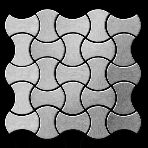 Azulejo mosaico de metal sólido Acero inoxidable cepillado gris 1,6 mm de grosor ALLOY Infinit-S-S-B diseñado por Karim Rashid 0,91 m2 – Imagen 3