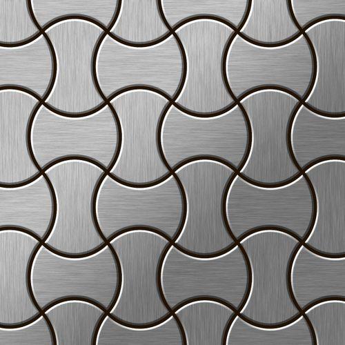 Azulejo mosaico de metal sólido Acero inoxidable cepillado gris 1,6 mm de grosor ALLOY Infinit-S-S-B diseñado por Karim Rashid 0,91 m2 – Imagen 1