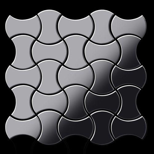 Mosaik Fliese massiv Metall Edelstahl hochglänzend in grau 1,6mm stark ALLOY Infinit-S-S-M Designed by Karim Rashid 0,91 m2 – Bild 3