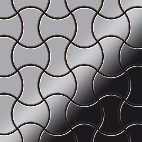 Mosaik Fliese massiv Metall Edelstahl hochglänzend in grau 1,6mm stark ALLOY Infinit-S-S-M Designed by Karim Rashid 0,91 m2 – Bild 1