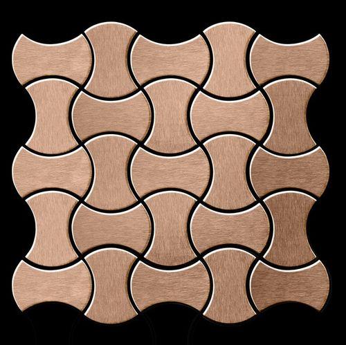 Azulejo mosaico de metal sólido Titanio Amber cepillado cobre 1,6 mm de grosor ALLOY Infinit-Ti-AB diseñado por Karim Rashid 0,91 m2 – Imagen 3
