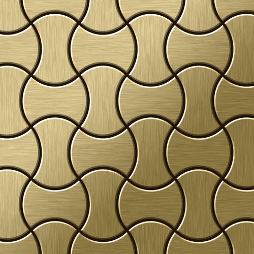 Mosaik Fliese massiv Metall Titan gebürstet in gold 1,6mm stark ALLOY Infinit-Ti-GB Designed by Karim Rashid 0,91 m2 – Bild 1