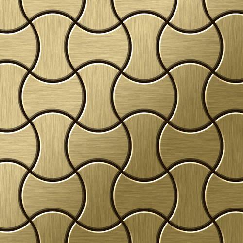 Mosaik Fliese massiv Metall Titan gebürstet in gold 1,6mm stark ALLOY Infinit-Ti-GB Designed by Karim Rashid 0,91 m2 – Bild 1