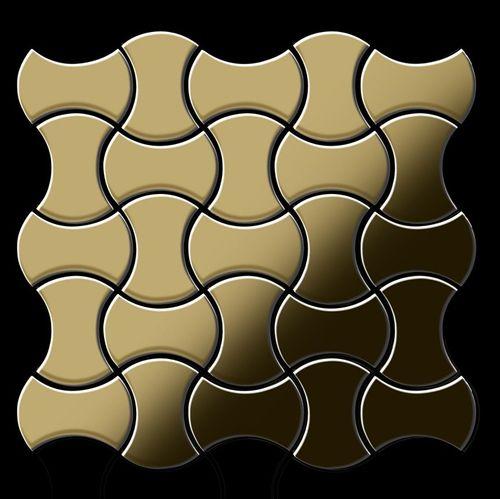 Mosaïque métal massif Carrelage Titane miroir Gold doré Grosseur 1,6mm ALLOY Infinit-Ti-GM dessiné par Karim Rashid0,91 m2 – Bild 3