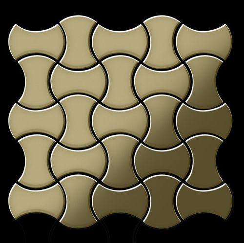 Mosaik Fliese massiv Metall Messing gewalzt in gold 1,6mm stark ALLOY Infinit-BM Designed by Karim Rashid 0,91 m2 – Bild 3