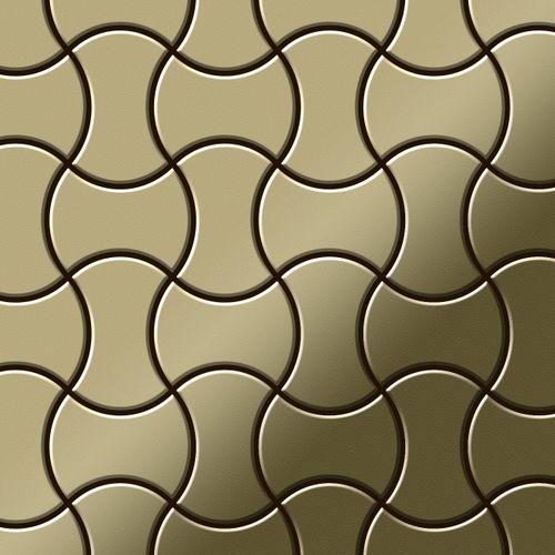 Mosaik Fliese massiv Metall Messing gewalzt in gold 1,6mm stark ALLOY Infinit-BM Designed by Karim Rashid 0,91 m2 – Bild 1