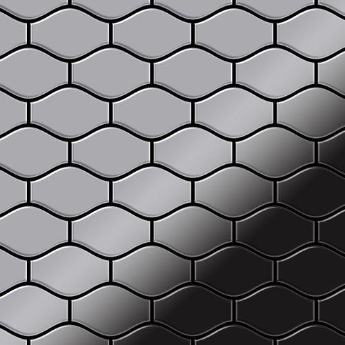 Mozaïektegels massief metaal roestvrij staal hoogglanzend grijs 1,6 mm dik ALLOY Karma-S-S-M ontworpen door Karim Rashid – Bild 1