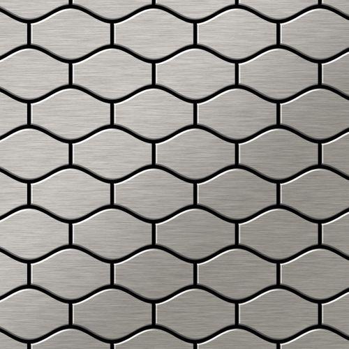Mozaïektegels massief metaal roestvrij staal Marine geborsteld grijs 1,6 mm dik ALLOY Karma-S-S-MB ontworpen door Karim Rashid – Bild 1