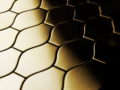 Mosaik Fliese massiv Metall Titan gebürstet in gold 1,6mm stark ALLOY Karma-Ti-GB Designed by Karim Rashid 0,86 m2 – Bild 4