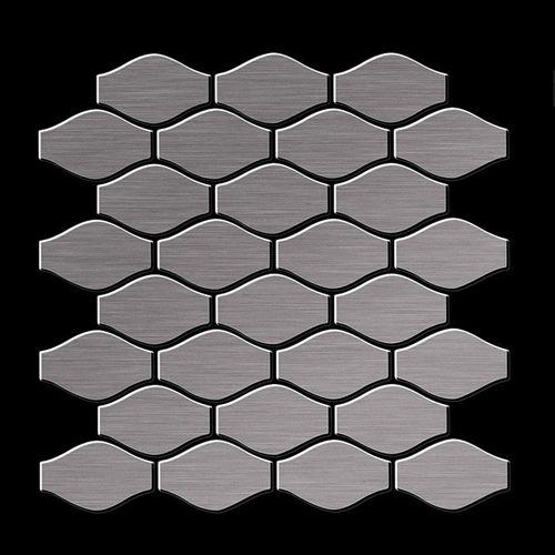 Mozaïektegels massief metaal titaan Smoke geborsteld grijs 1,6 mm dik ALLOY Karma-Ti-SB ontworpen door Karim Rashid – Bild 3