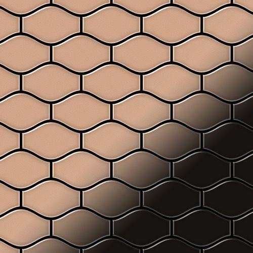 Mozaïektegels massief metaal gewalst koper koperrood 1,6 mm dik ALLOY Karma-CM ontworpen door Karim Rashid – Bild 1
