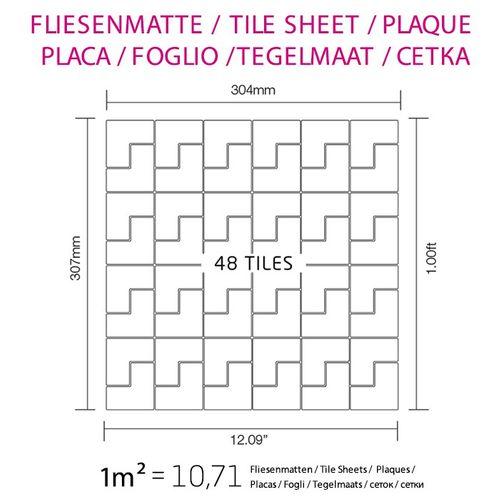 Mosaik Fliese massiv Metall Edelstahl marine hochglänzend in grau 1,6mm stark ALLOY Kink-S-S-MM Designed by Karim Rashid 0,93 m2 – Bild 5