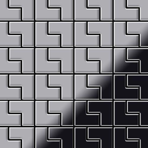 Azulejo mosaico de metal sólido Acero inoxidable Marine cepillado gris 1,6 mm de grosor ALLOY Kink-S-S-MB diseñado por Karim Rashid 0,93 m2 – Imagen 1