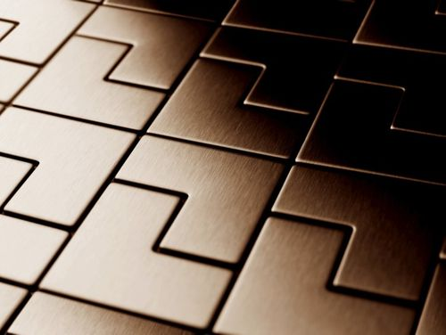 Mosaik Fliese massiv Metall Titan gebürstet in kupfer 1,6mm stark ALLOY Kink-Ti-AB Designed by Karim Rashid 0,93 m2 – Bild 4