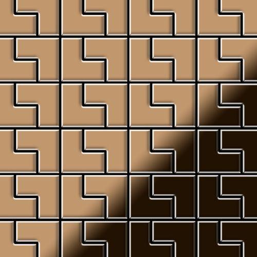 Mosaik Fliese massiv Metall Titan hochglänzend in kupfer 1,6mm stark ALLOY Kink-Ti-AM Designed by Karim Rashid 0,93 m2 – Bild 1