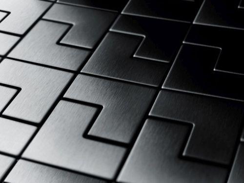 Azulejo mosaico de metal sólido Titanio Smoke cepillado gris oscuro 1,6 mm de grosor ALLOY Kink-Ti-SB diseñado por Karim Rashid 0,93 m2 – Imagen 4