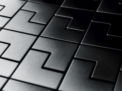 Mosaïque métal massif Carrelage Titane brossé Smoke gris foncé Grosseur 1,6mm ALLOY Kink-Ti-SB dessiné par Karim Rashid0,93 m2 – Bild 4