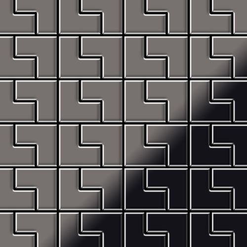 Azulejo mosaico de metal sólido Titanio Smoke espejo gris oscuro 1,6 mm de grosor ALLOY Kink-Ti-SM diseñado por Karim Rashid 0,93 m2 – Imagen 1