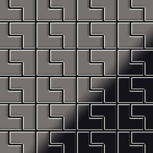 Mosaik Fliese massiv Metall Titan hochglänzend in dunkelgrau 1,6mm stark ALLOY Kink-Ti-SM Designed by Karim Rashid 0,93 m2 – Bild 1