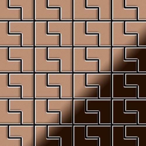 Mosaik Fliese massiv Metall Kupfer gewalzt in kupfer 1,6mm stark ALLOY Kink-CM Designed by Karim Rashid 0,93 m2 – Bild 1