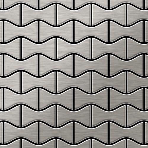 Mosaïque métal massif Carrelage Acier inoxydable Marine brossé gris Grosseur 1,6mm ALLOY Kismet-S-S-MB dessiné par Karim Rashid0,86 m2 – Bild 1