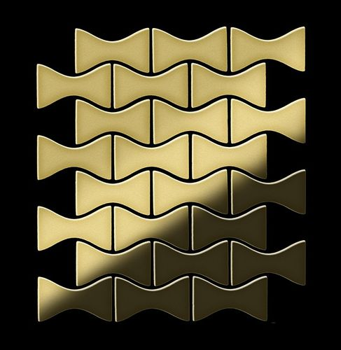 Mosaik Fliese massiv Metall Messing gewalzt in gold 1,6mm stark ALLOY Kismet-BM Designed by Karim Rashid 0,86 m2 – Bild 3