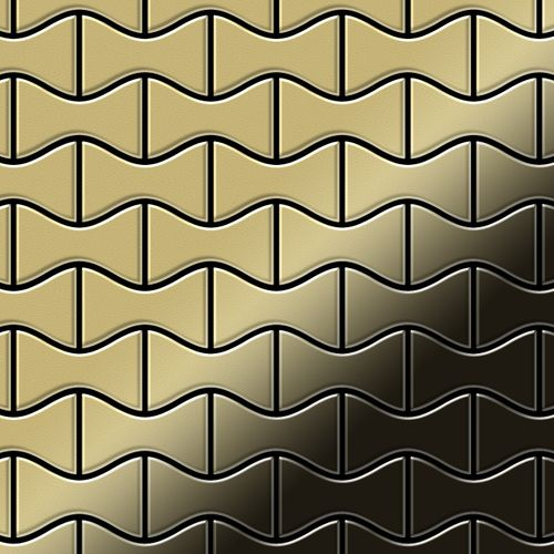 Mosaik Fliese massiv Metall Messing gewalzt in gold 1,6mm stark ALLOY Kismet-BM Designed by Karim Rashid 0,86 m2 – Bild 1