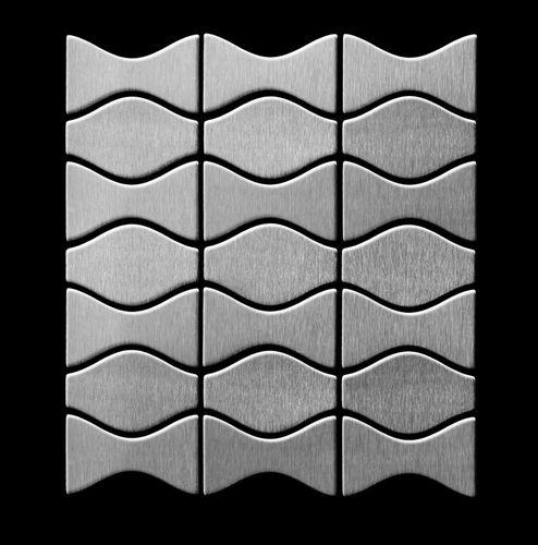 Mosaik Fliese massiv Metall Edelstahl gebürstet in grau 1,6mm stark ALLOY Kismet & Karma-S-S-B Designed by Karim Rashid 0,86 m2 – Bild 3