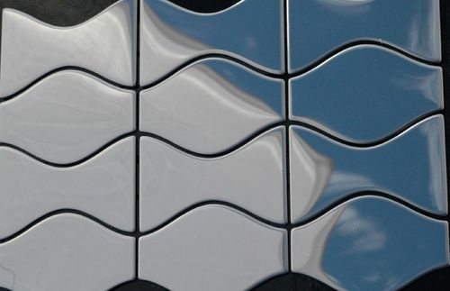 Mosaik Fliese massiv Metall Edelstahl hochglänzend in grau 1,6mm stark ALLOY Kismet & Karma-S-S-M Designed by Karim Rashid 0,86 m2 – Bild 4