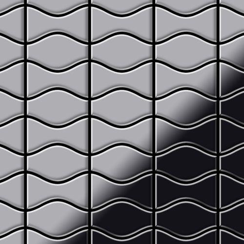 Azulejo mosaico de metal sólido Acero inoxidable pulido espejo gris 1,6 mm de grosor ALLOY Kismet & Karma-S-S-M diseñado por Karim Rashid 0,86 m2