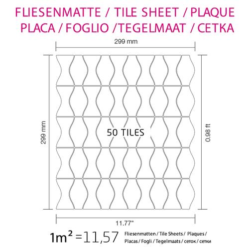 Mosaik Fliese massiv Metall Edelstahl matt in grau 1,6mm stark ALLOY Kismet & Karma-S-S-MA Designed by Karim Rashid 0,86 m2 – Bild 4