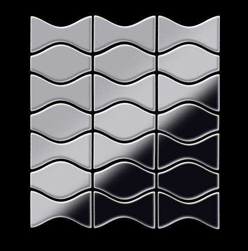 Mosaik Fliese massiv Metall Edelstahl marine hochglänzend in grau 1,6mm stark ALLOY Kismet & Karma-S-S-MM Designed by Karim Rashid 0,86 m2 – Bild 3