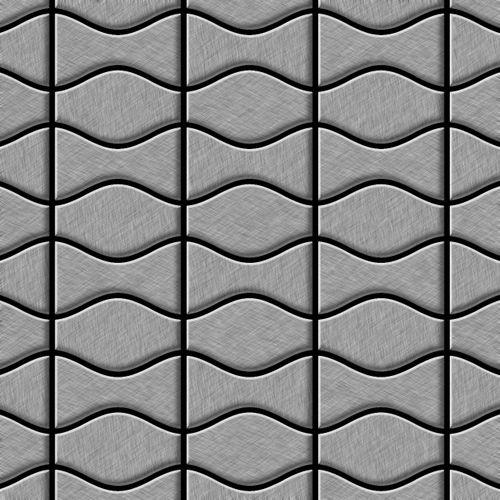 Azulejo mosaico de metal sólido Acero inoxidable Marine cepillado gris 1,6 mm de grosor ALLOY Kismet & Karma-S-S-MB diseñado por Karim Rashid 0,86 m2