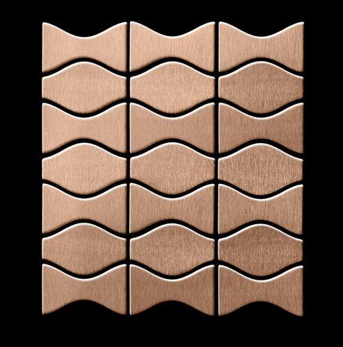 Azulejo mosaico de metal sólido Titanio Amber cepillado cobre 1,6 mm de grosor ALLOY Kismet & Karma-Ti-AB diseñado por Karim Rashid 0,86 m2 – Imagen 3